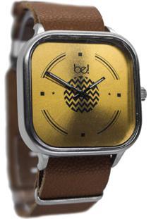 Relógio Bewatchoficial Gold Metalico Pulseira De Couro Marrom