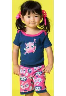 Pijama Coruja- Azul Marinho & Pinkpuket