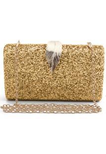 Bolsa Clutch Liage Brilhante Metal Brilho Retangular Alça Alcinha Dourada