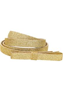 Cinto Shoestock Fino Laço - Feminino-Dourado