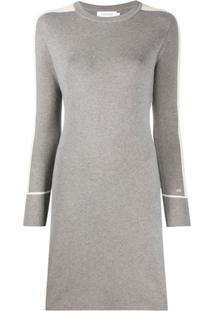 Calvin Klein Vestido De Tricô Color Block - Cinza