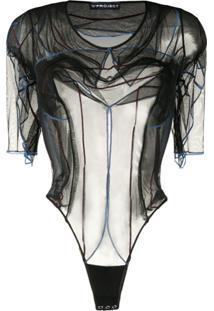 Y/Project Body Translúcido Mangas Curtas - Preto