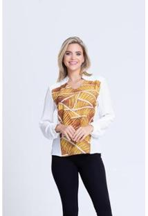Camisa Clara Arruda Bicolor 12047 - Feminino-Amarelo