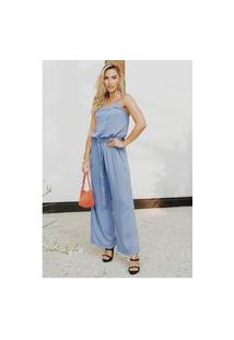 Macacão Pantalona Longo Com Bolsos Sob Azul Lavanda