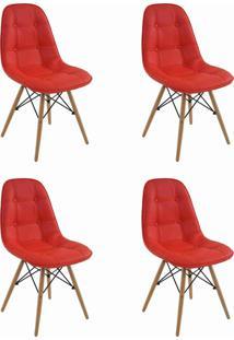 Conjunto 04 Cadeiras Eiffel S/Br Botone Pu Vermelho