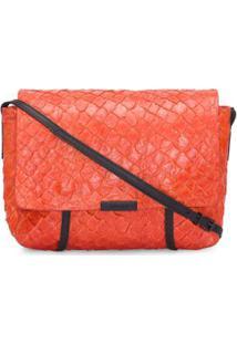 Bolsa Pirarucu Flap Shoulder Bag Osklen - Laranja - Bolsa Pirarucu Flap Shoulder Osklen - Laranja