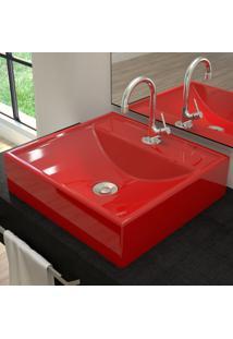 Cuba Para Banheiro Quadrada Vermelho Q39 - Compace