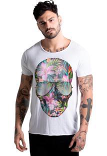 Camiseta Estonada Corte À Fio Joss Caveira Flores Branco