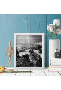 Quadro Decorativo Com Moldura Praia Preto E Branco