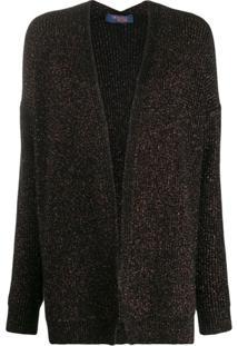 Trussardi Jeans Metallic Open-Front Cardigan - Preto