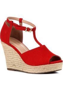 Sandália Plataforma Shoestock Corda Nobuck Feminina - Feminino-Vermelho