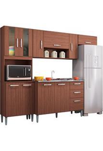 Cozinha Compacta 8 Portas Com Balcão E Pia Inox Lavínia Capuccino - Po