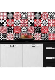 Adesivo Azulejos Retrô Vermelho E Preto (20X20Cm)