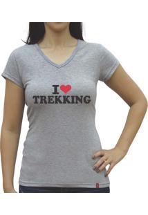 Camiseta Baby Look Casual Sport Trekking Cinza