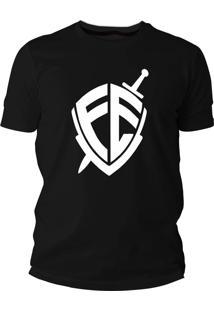 Camiseta Criativa Urbana Frases Evangélica Gospel Escudo Fé Preto