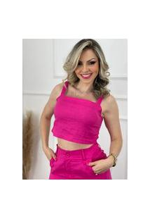Blusa Cropped Elástico Alça Liso Pink