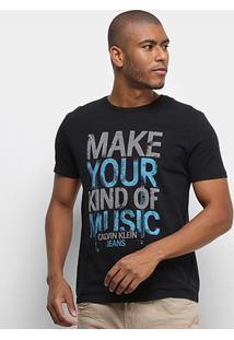 Camiseta Calvin Klein Make Your Kind Of Music Masculina - Masculino-Preto