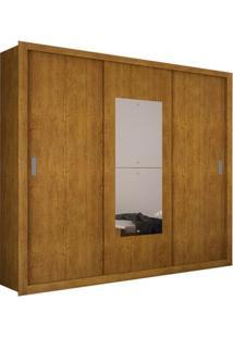 Armário 3 Portas De Correr Com Espelho Bipartido, Imbuia, Munique Premium