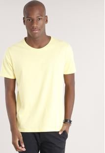 Camiseta Masculina Básica Manga Curta Gola Careca Amarelo Claro