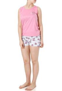 Pijama Curto Izi Dreams Feminino - Feminino-Rosa+Cinza