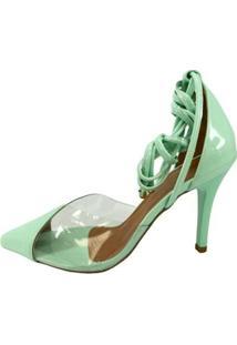 Scarpin Zhaceci De Amarrar Verde Pistache Feminino - Feminino-Verde