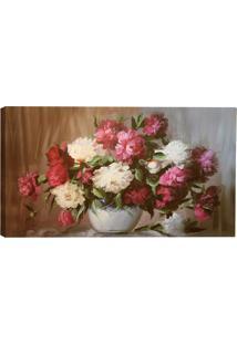 Quadro Vaso Flores Rosa 55X100Cm