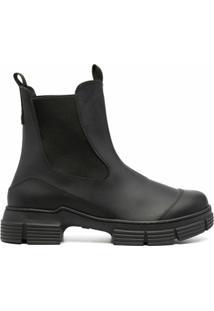 Ganni Ankle Boot Com Solado Chunky - Preto