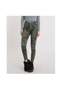 Calça Feminina Skinny Estampada Camuflada Verde Militar