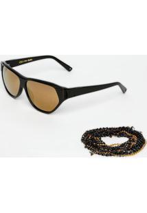 Óculos De Sol Retangular- Preto & Amarelo- Absurdaabsurda
