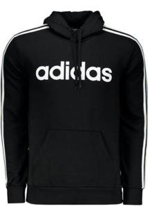 Moletom Adidas Essentials 3 Stripes Logo - Masculino-Preto