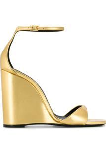 Saint Laurent Sandália Com Plataforma - Dourado