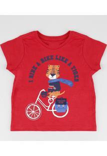 Camiseta Infantil Com Estampa Interativa De Tigre Manga Curta Gola Careca Vermelha