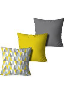 Kit 3 Capas Love Decor Para Almofadas Decorativas Geometric 3D Multicolorido Cinza - Kanui