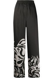 Pinko Calça Pantalona Com Padronagem - Preto