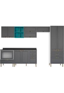 Cozinha Modulada 10 Peças Com Tampo E Nichos Nevada 5958Mf-Multimóveis - Branco Premium / Grafite Premium / Lacca Ad Verde Esmeralda