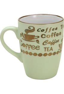 "Caneca Vintage Letters ""Coffee""- Verde Claro & Dourada"