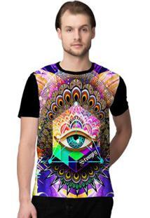 Camiseta Stompy Psicodelica31 Masculina - Masculino-Preto