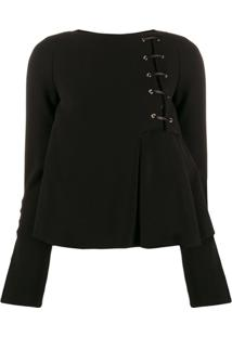 Just Cavalli Flared Lace Up Detail Blouse - Preto