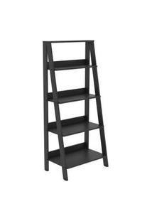 Estante Escada Para Livros Com 4 Prateleiras Madesa Preto Preto