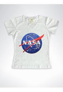 Camiseta Feminina Gola V Geek Cool Tees Nasa Vintage Branca - Cinza - Feminino - Algodã£O - Dafiti