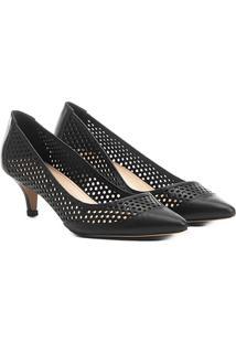 Scarpin Shoestock Salto Médio Lasercut - Feminino-Preto