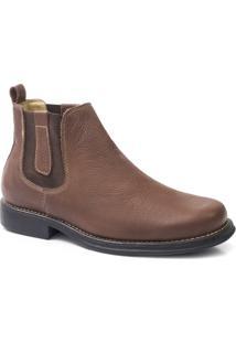 Botina Couro Confort Riber Shoes Elastico Masculino - Masculino-Marrom