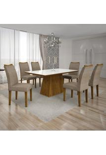 Conjunto Mesa Pampulha 1,80X0,90M 6 Cadeiras Vidro Branco Suede Camurça - 7340.4.58.24 Leifer