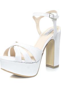 Sandália Durval Calçados Noiva Velvet Plataforma Salto Largo - St56837 Branco