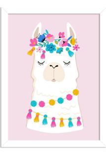 Quadro Decorativo Infantil Lhama Branco E Rosa Com Flores Branco - Grande