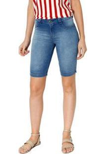 Bermuda Jeans Energia Fashion Denin Feminina - Feminino-Azul