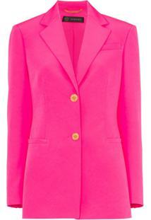 Versace Blazer Com Abotoamento Simples - Rosa