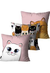 Kit Mdecore Com 3 Capas Para Almofada Infantil Gato Colorido 45X45Cm
