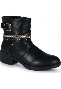 Ankle Boots Feminina Mooncity Corrente Preto