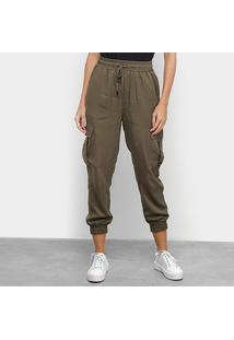 Calça Calvin Klein Cargo Feminina - Feminino-Verde Militar